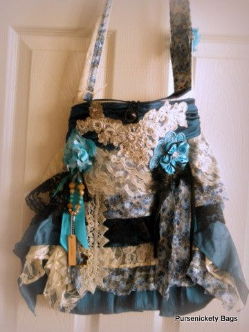 SALE - Gypsy Bag, large bohemian bag soft thick blue, black and white ruffle lace. $50.00, via Etsy.