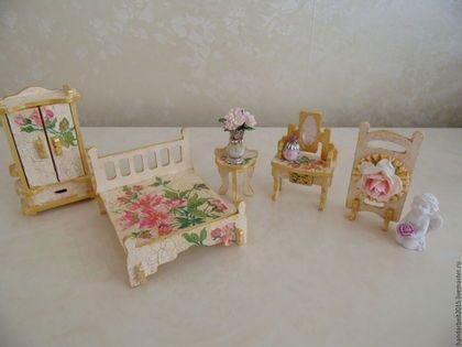 Кукольный дом ручной работы. Ярмарка Мастеров - ручная работа. Купить Набор мебели для спальни. Handmade. Бежевый, кукольная мебель
