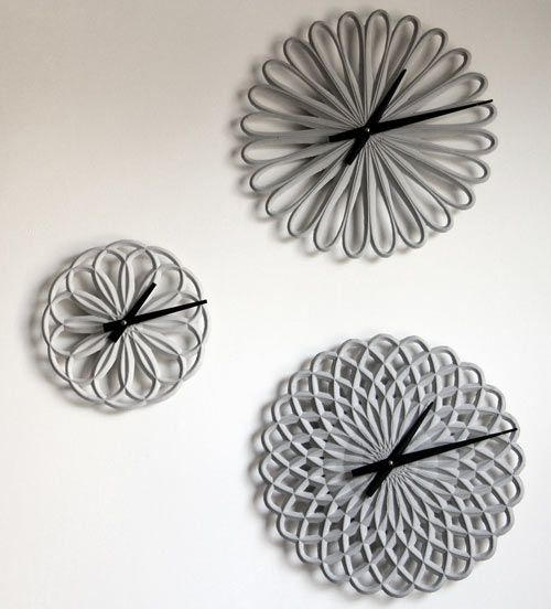 LeeLABS is behind a new line of concrete clocks, called Para Clocks, that were designed using parametric software to achieve the radial patterns they were inspired by. Despite being made of concrete, these clocks have a delicate look about them.
