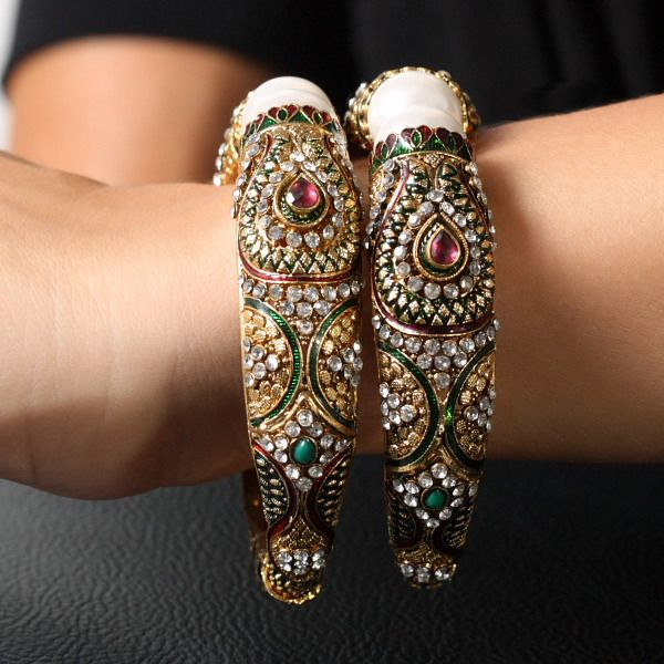 Anjus Bollywood Fashion Bangle Bracelet with Faux Diamonds and Pearls - Set of 2 - Final Sale
