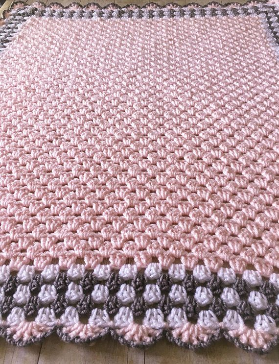 Pink Baby Blanket Crochet Babydecke Pink Crochet Afghan   – Do it yourself