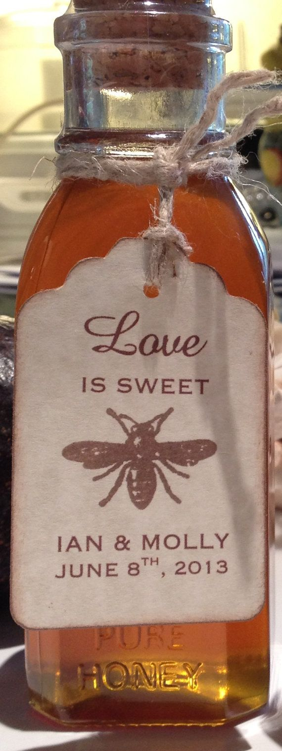50 Love Is Sweet Bee Wedding Favor Gift Tags / Place Cards / Escort Tags / Thank You Tags / Love Is Sweet / Honey Jar Labels - Vintage