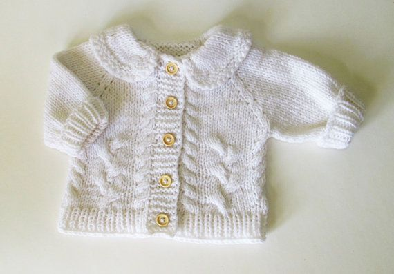 Handknit cardigan for baby boy white cable baby by iziknittings, $30.00