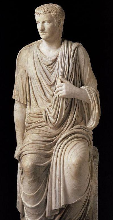 Emperor Caligula, Roman statue (marble), 1st century AD, (Musée du Louvre, Paris).