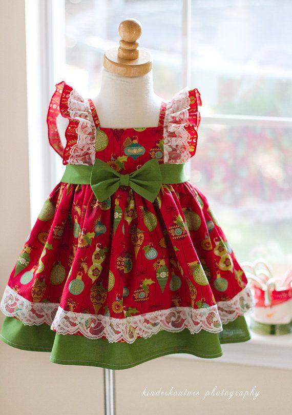 Chicas Vintage Navidad rojo y verde vestido de Navidad