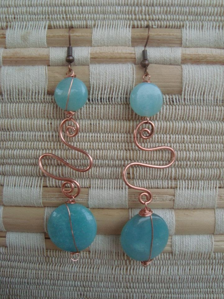 Wire earrings with beads.