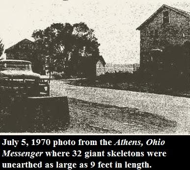 Giant Human Skeletons: Mass Grave of Nephilim Giants Uncovered by an Athens County, Ohio Road Crew