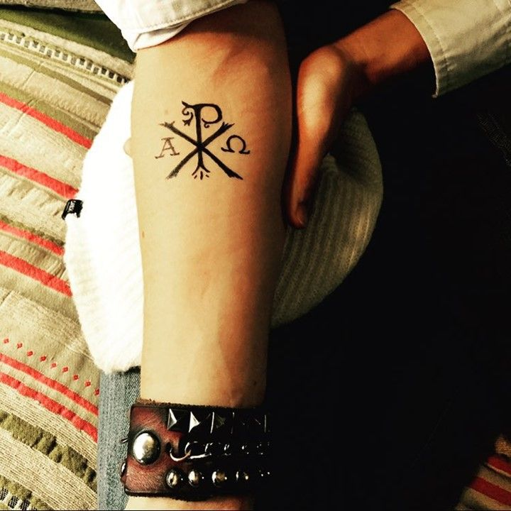 The Chi Rho is one of the first forms of christogram, and is used by some Christians. It is formed by superimposing the letters chi and rho (ΧΡ) in such a