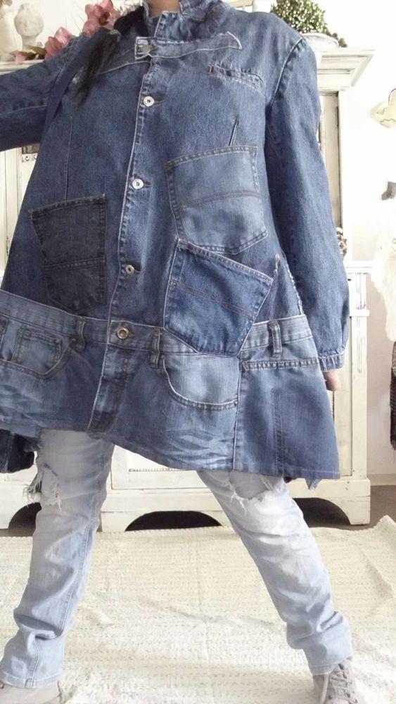 mantel jacke jeans patwork hippie birker rockabilly upcycling lagenlook unikat in Kleidung & Accessoires, Damenmode, Jacken & Mäntel | eBay!