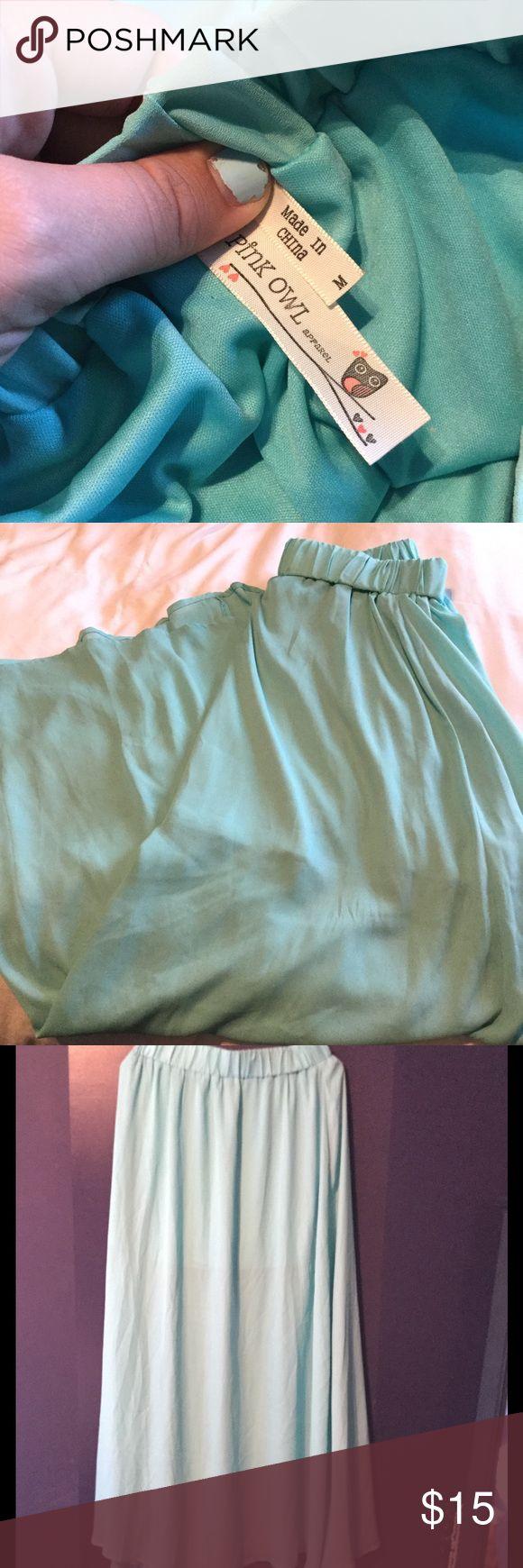 Teal Maxi Skirt Teal colored Maxi skirt pink owl Skirts Maxi