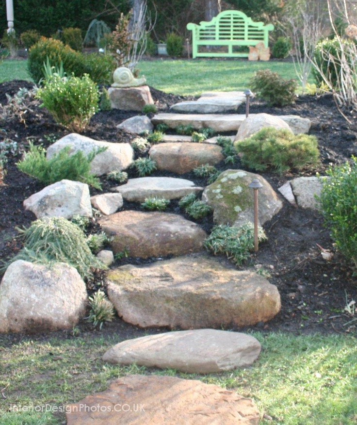 Homemade Stone Stairs Landscaping With Rocks Garden