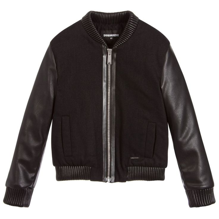 DSquared2's take on the bomber jacket for the new season mixes traditional styling with the use of innovative fabric combinations, and takes its lead from the adult collections. A soft grain synthetic leather is used as ribbing on the collar, sleeve cuffs and hem to coordinate with the smooth synthetic leather sleeves, while a dense woollen blend fabric is used for the body.