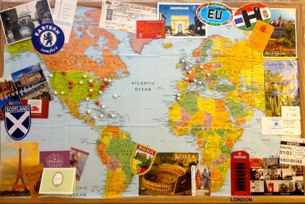 World travels bulletin board (adorable idea stolen from Beth Stanley)