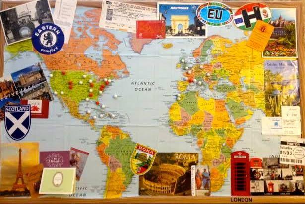 World travels bulletin board (adorable idea stolen from Beth Stanley)