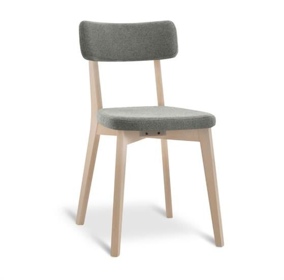 Sedia in legno con sedile e schienale in tessuto
