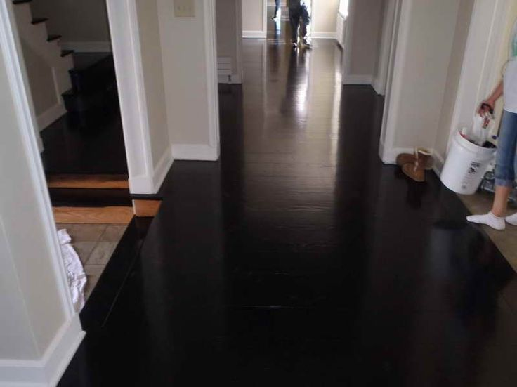 Black Hardwood Floor Very Nice Decorative Look At A White