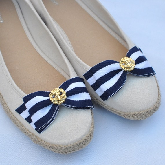 "Nautical ""Flat"" Bow Shoe Clips...Womens Navy and White Striped Bow Shoe Clips...Anchor Button Shoe Clips...Bow with Gold Shoe Clips"