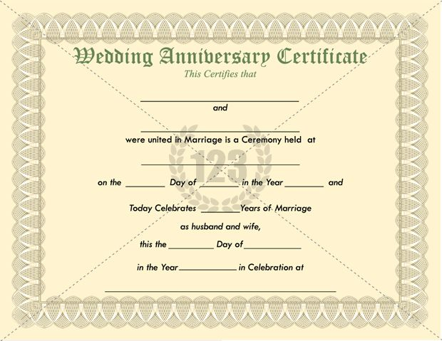 Most memorable Wedding Anniversary Certificate Templates ...