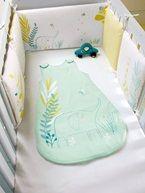 Silhouette Tour de lit bébé modulable en coton Bio. Little Safari + Gigoteuse spéciale été BIO Little Safari + Lot de 2 draps-housses bébé collection Bio -