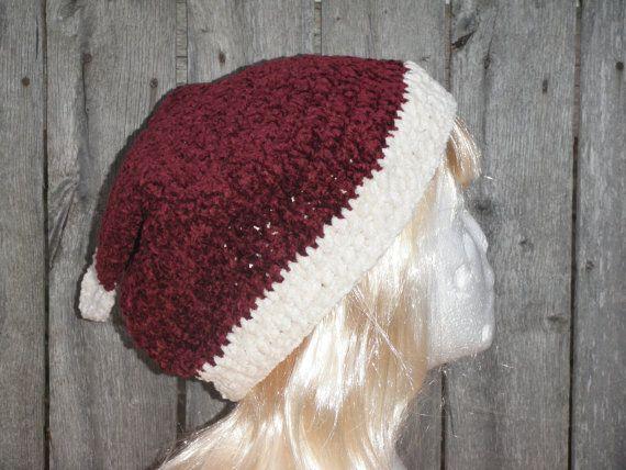 Vintage inspired Santa hat chenille crochet Santa by CrochetByMel, $19.95