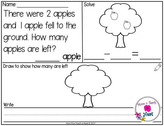 Kindergarten Apple Subtraction Word Problems Within 10 Mats Numbers Cards Count Subtraction Word Problems Math Centers Kindergarten Subtraction Kindergarten Subtraction word problems worksheets