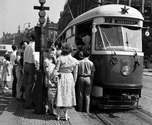 Prague by tram: T1 with red star (Jirasek square),early 60s