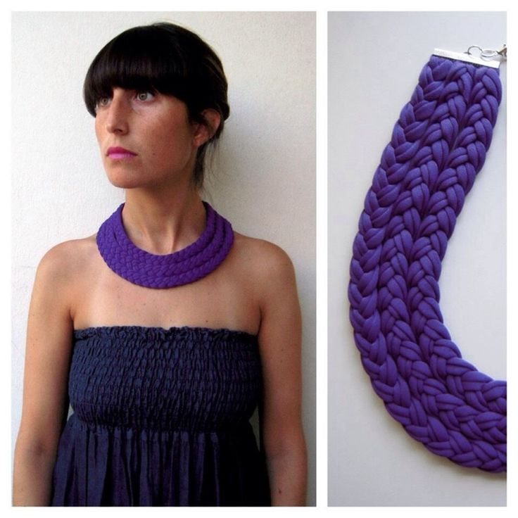 Beautiful purple triple braided collar, soft, light colorful, daring and with a tribal feel.