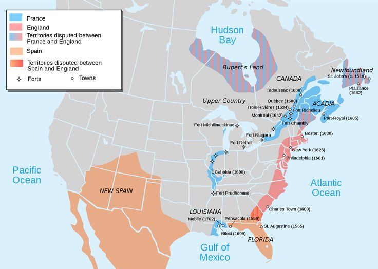 European occupation of North America at the start of Queen Anne's War (1702)