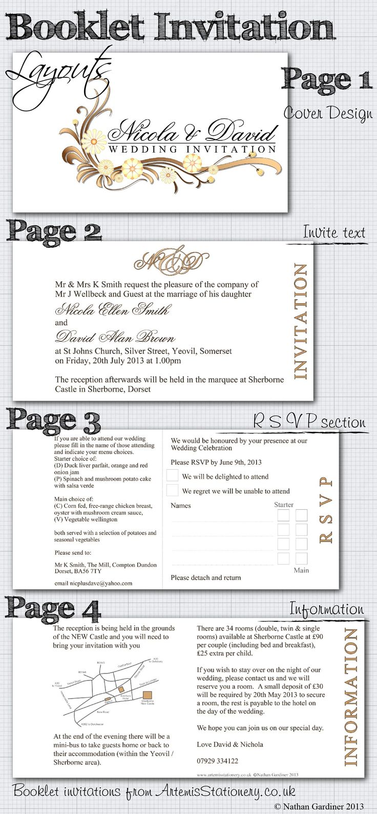 Artemis Stationery suggested booklet wedding invitation layout - stationery range shown is Sienna