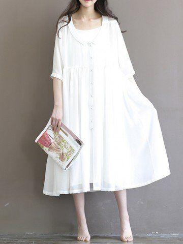 Cheap Elegant Women Half Sleeve Single Breasted Turn-Down Collar Loose White Chiffon Dress - NewChic
