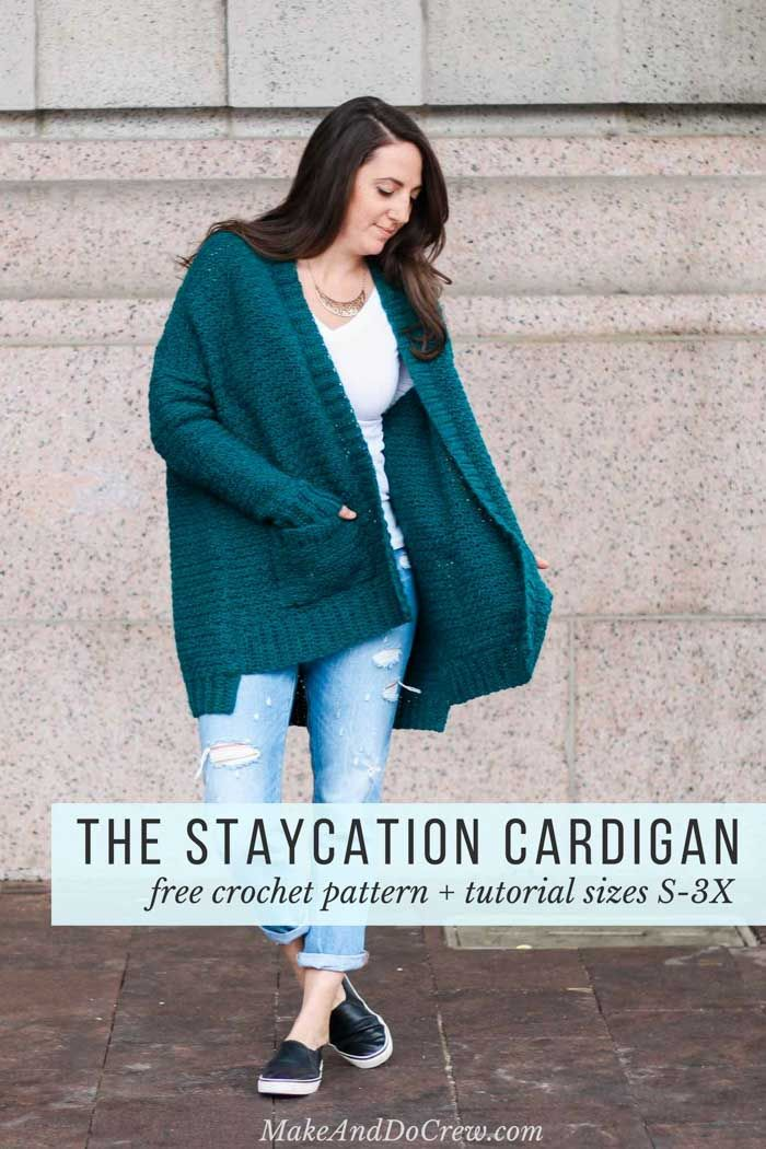 """Love this comfy cardigan crochet pattern! Make & Do Crew says: this pattern has extra long fitted sleeves, pockets and an oversized fit for the perfect stylish, yet comfortable fit. Free crochet pattern includes plus sizes too! (Women's size small-3x) This pattern featured Lion Brand Touch of Alpaca yarn in the color """"Jade."""""""