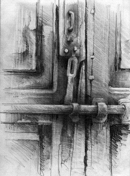 #charcoal #drawing - Moroccan Doorway by Ian Murphy