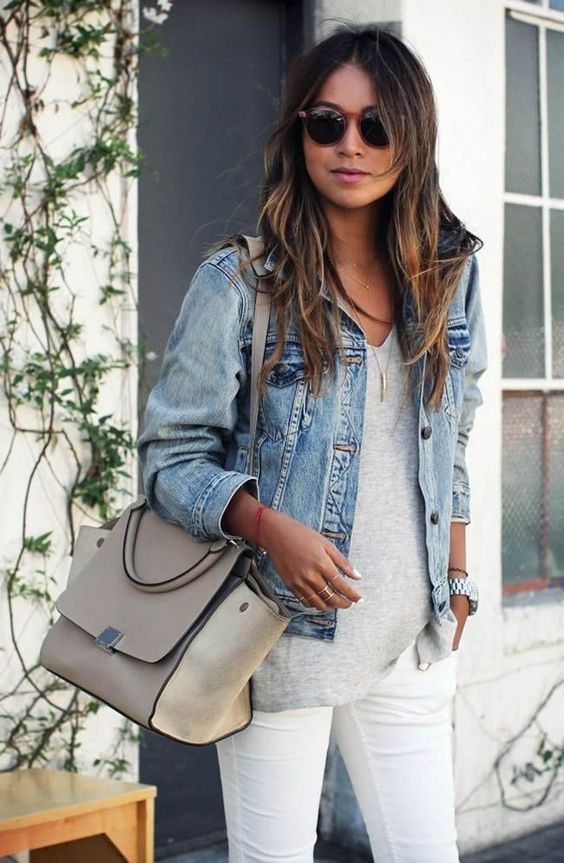 Grey Shirt, White Jeans, Denim Jacket Outfit