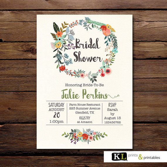 Bridal Shower Printiable Invitation by KLprintsandprintable