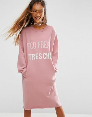 "ASOS - ECO - Vestito felpato con scritta ""Eco Freak Tres Chic"""