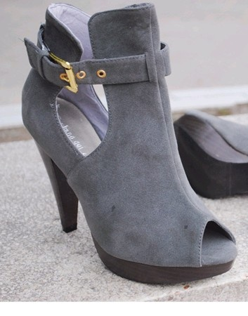 Fashion Hollywood Style Fish Mouth High Heels Grey