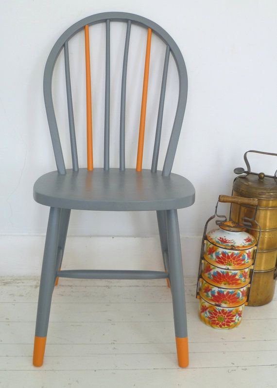 i have a set of 6 that i could paint like this.  found @ Juno Chair by NiceThingUK on Etsy, $125.00