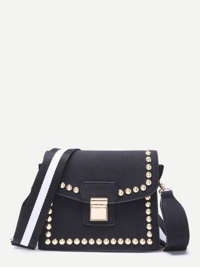 Bolso de hombro de moda ribete con tachuelas con solapa - negro