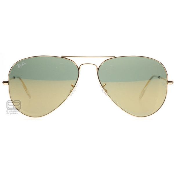 Ray-Ban 3025 Aviator ($175) ❤ liked on Polyvore featuring accessories, eyewear, sunglasses, gold sunglasses, gold mirrored sunglasses, gold aviators, aviator style sunglasses and gold aviator glasses