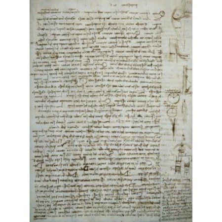 Codex Leicester River Theories Leonardo da Vinci (1452-1519Italian) Drawing Armand Hammer Foundation Los Angeles California USA Canvas Art - Leonardo da Vinci (24 x 36)