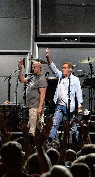 "Bernie Leadon and Glen Frey of the Eagles perform during ""History Of The Eagles Live In Concert"" at the Bridgestone Arena on October 16, 201..."