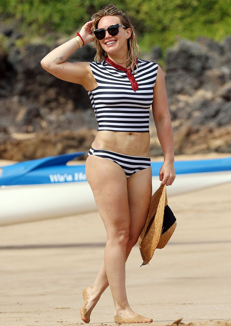 Hilary Duff Rocks Cute French-Inspired Bathing Suit in Hawaii from InStyle.com