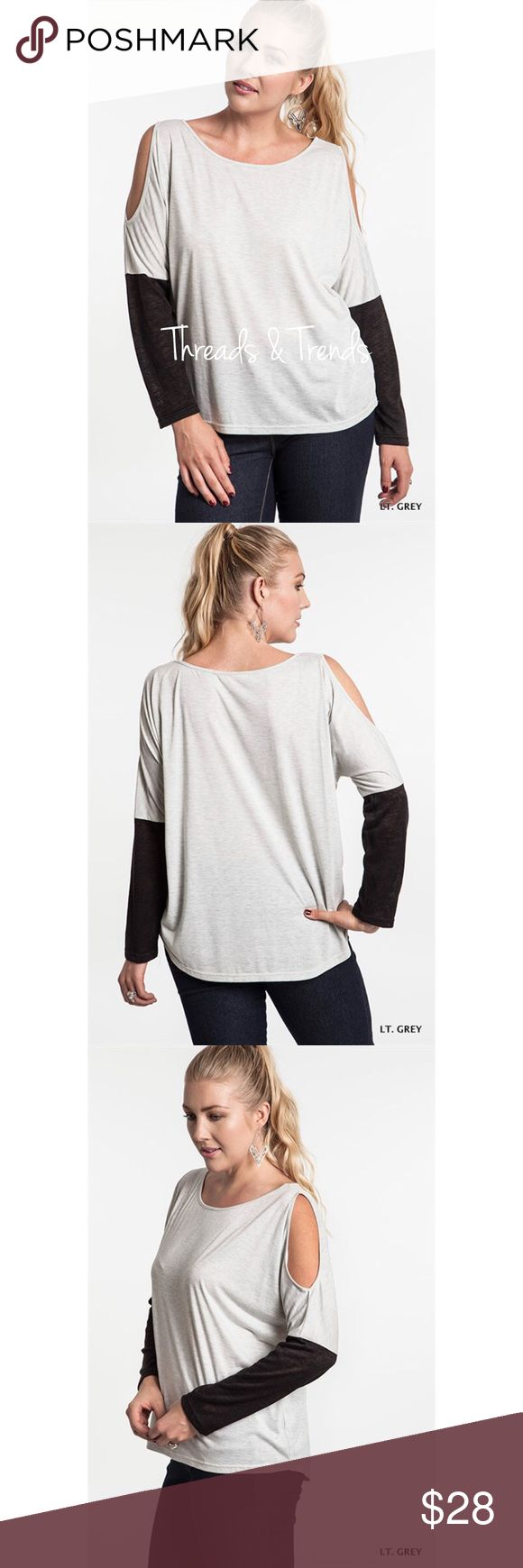 Cold Shoulder Color Block Top Heather grey and black color block top featuring cold should design. Made of poly/cotton blend. Threads & Trends Tops
