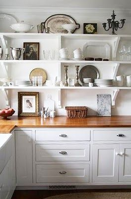 Trina (A Country Farmhouse blog) creates a beautiful display in the kitchen.