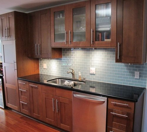 Glass Subway Tile Kitchen Backsplash in Prism Squared Aquiline 2 x 4 Glass Subway Tile
