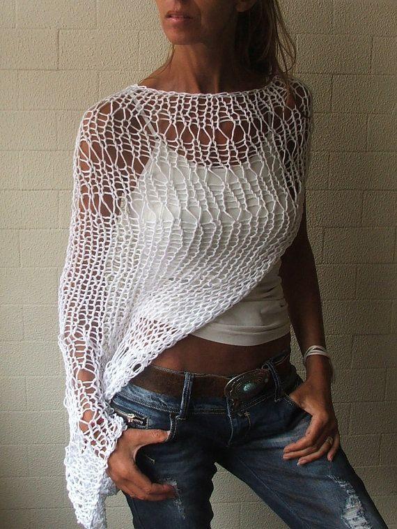 Lose weiße Shrug stricken weiß Eco Baumwolle lose gewebtes Hand stricken Achselzucken so lang in diesem Farbton