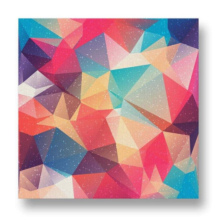 Polyart Canvas Print.  This canvas print features a beautiful triangular polygon design in soft tones of red, yellow and blue.
