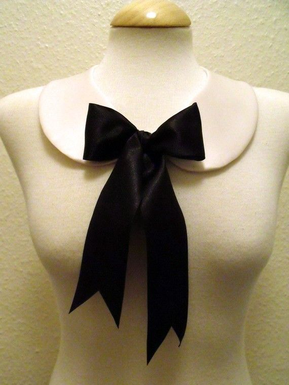 Detachable Peter Pan Collar With Bow in Black I Schwarz Weiß Kragen mit Schleife