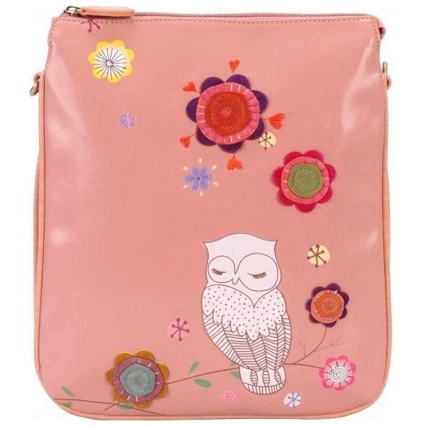 Retro Snowy Owl olkalaukku, vaaleanpunainen