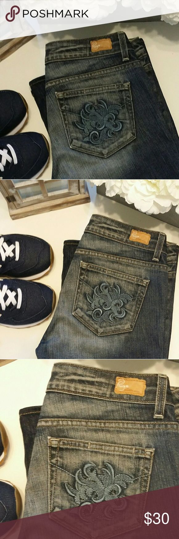 Paige Blue Jeans Paige Blue Jeans with design pocket. Size 29. Rise is approx 8 inches, Length (from crotch to bottom) approx 33 1/2 inches band is approx 15 3/4 inches Paige Jeans Jeans Boot Cut